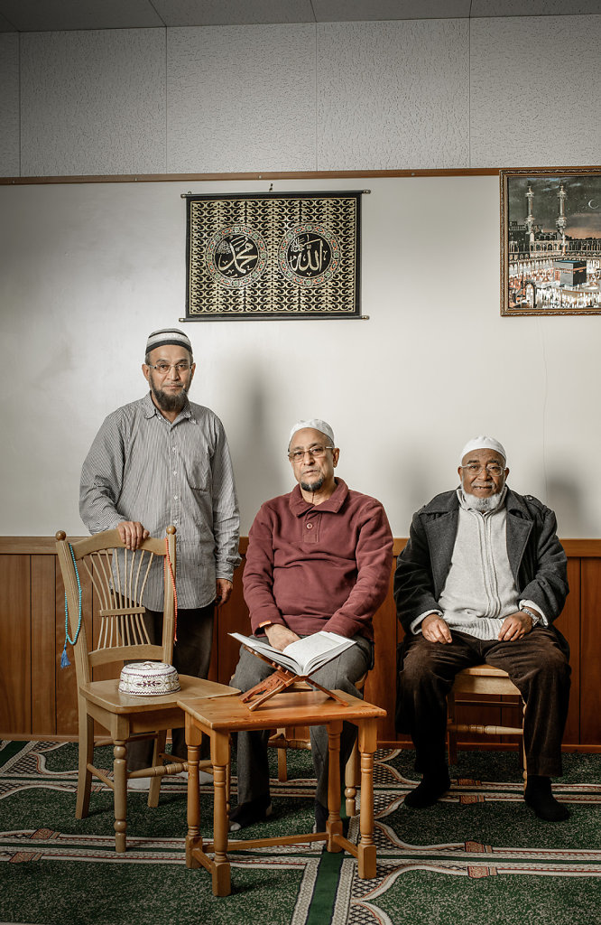 Mohammed, MD Akikur Rahman & visitor photographed at the Dorking Mosque